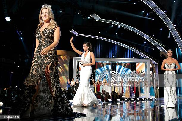 Miss America 2013 Mallory Hagan Miss Minnesota Rebecca Yeh and Miss Oklahoma Kelsey Griswold walk the runway as they attend 2014 Miss America News...