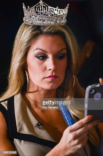 Miss America 2013 Mallory Hagan preps for her interview at 'Good Morning America' at the ABC Times Squrare Studios on January 14 2013 in New York City