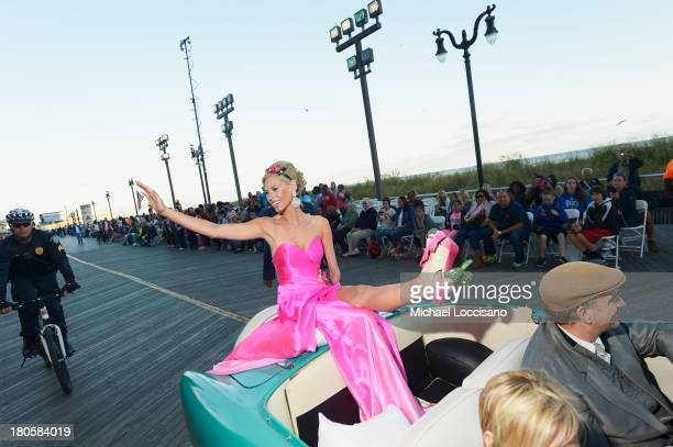 Miss America 2014 contestant Miss Iowa Nicole Kelly appears in the 2014 Miss America Competition Parade at Boardwalk Hall Arena on September 14 2013...