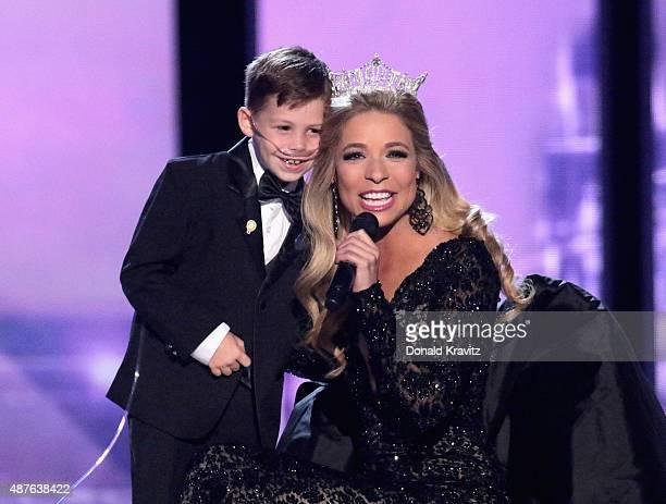 Miss America 2015, Kira Kazantsev speaks at the Thursday Night Preliminaries - 2016 Miss America Competition at Atlantic City Boardwalk Hall on...