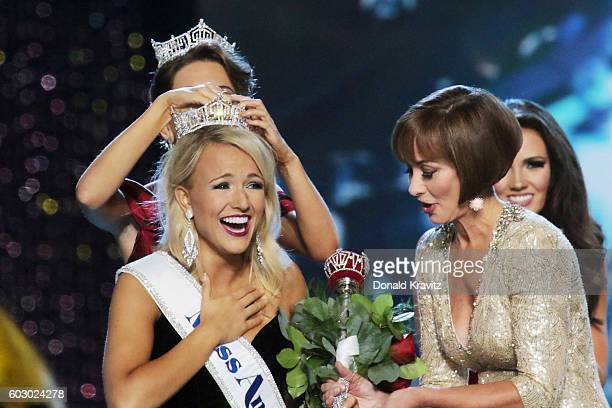 Miss America 2017 Savvy Shields and Chairman of the Board at Miss America Organization, Lynn Weidner appear onstage during the 2017 Miss America...