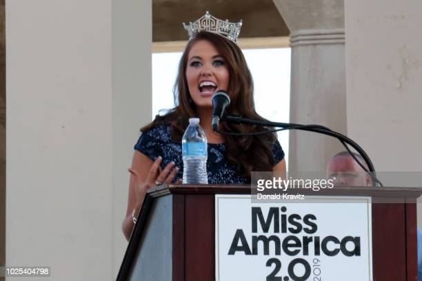 Miss America 2018 Cara Mund addresses the crowd at Kennedy Plaza on August 30 2018 in Atlantic City New Jersey