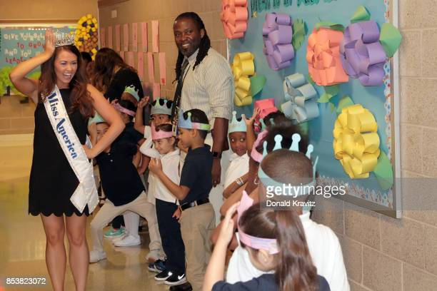 Miss America 2018 Cara Mund visits the Pennsylvania Avenue School and interacts with students and staff on September 25 2017 in Atlantic City New...