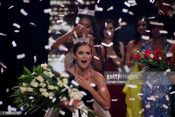 Miss America 2019 Nia Franklin crowns Miss Virginia 2019 Camille Schrier, as Miss America 2020 at the Miss America 2020 Pageant Finals at Mohegan Sun...