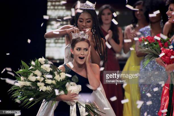 Miss America 2019 Nia Franklin crowns Miss Virginia 2019, Camille Schrier, as Miss America 2020 at the Miss America 2020 Pageant Finals at Mohegan...
