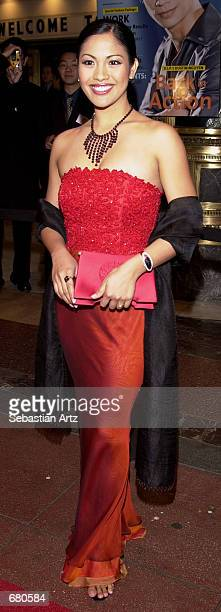 Miss America Angela Baraquio arrives at the Second Annual AMMY Awards For Asian American Entertainment November 10 2001 in Los Angeles CA