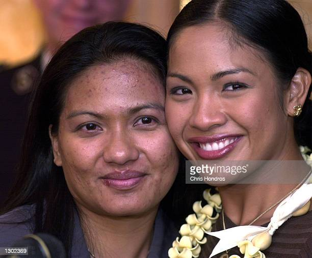 Miss America Angela Perez Baraquio right along with her sister Tess Perez Baraquio left meets the media in New York for the first time October 16...