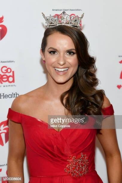 Miss America Camille Schrier attends The American Heart Association's Go Red for Women Red Dress Collection 2020 at Hammerstein Ballroom on February...