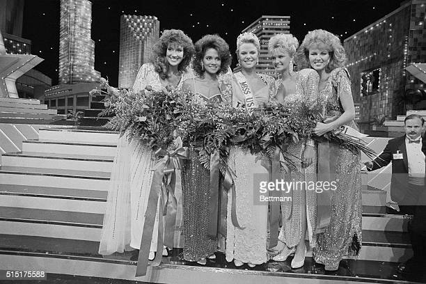 Miss America for 1986, Christy Fichtner , poses with the runners-up after pageant. Left to right are Miss Georgia, Tami Tesch 2nd runner-up; Miss...