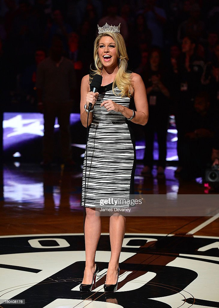 Miss America Mallory Hagan sings the national anthem before the Miami Heat vs Brooklyn Nets game at Barclays Center on January 30, 2013 in the Brooklyn borough of New York City.
