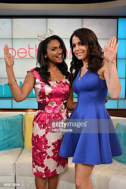Miss America Nina Davuluri and Bethenny Frankel on the set of 'Bethenny' with special guests NeNe Leakes Miss America Heather Dubrowm Bevy Smith and...