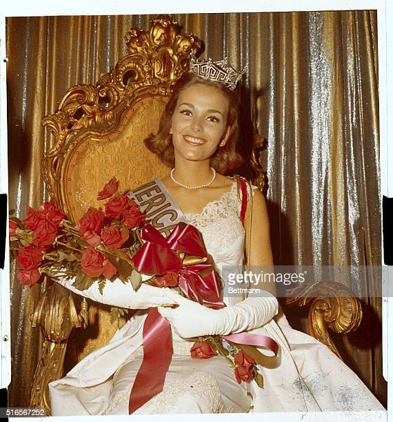 'Miss America' of 1966 the former Miss Kansas Deborah Irene Bryant is seated on her throne wearing crown shortly after coronation September 11th