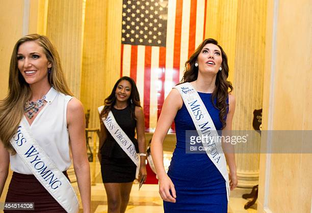 Miss America pageant contestants form left Miss Wyoming Jessie Allen Miss Virgin Islands Ashley Richelle Gabriel and Miss Minnesota Savannah Cole get...