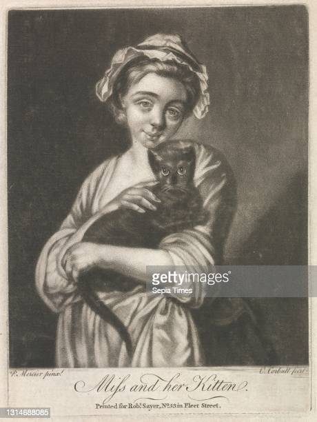 Miss and her Kitten , Print made by Richard Purcell, active 1746–1766, Irish, after Philippe Mercier, 1689 or 1691–1760, Franco-German, active in...