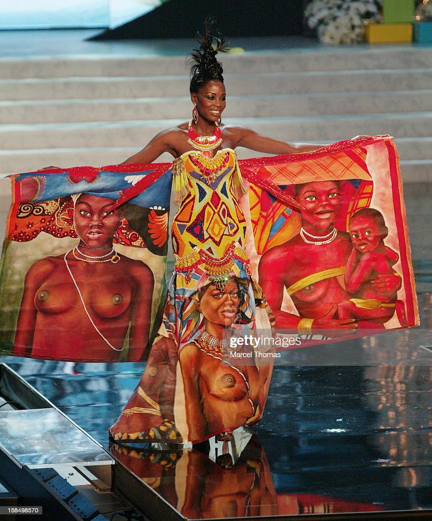 Miss Angola Marcelina Vahekeni displays her national costume at the 2012 Miss Universe National Costume event at Planet Hollywood Casino Resort on December 14, 2012 in Las Vegas, Nevada.