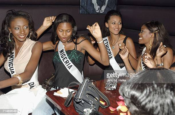 Miss Antigua Barbuda Renata Langmannova Miss Nigeria Gisella Hilliman Miss Ethiopia Dina Fekadu and Miss South Africa Thuli Sithole four of the 2006...