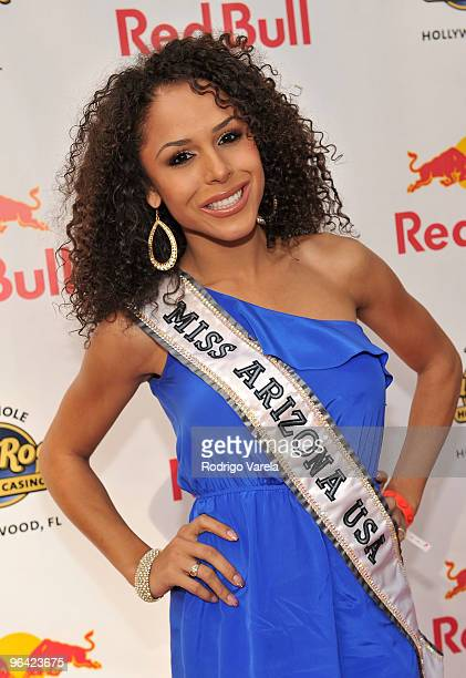 Miss Arizona USA Brittany Bell attends the Red Bull Super Pool at Seminole Hard Rock Hotel on February 4 2010 in Hollywood Florida