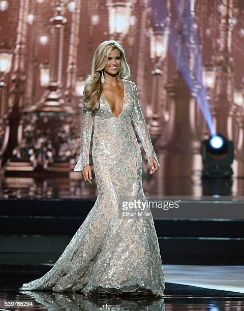 Miss Arkansas USA 2016 Abby Floyd competes in the evening gown competition during the 2016 Miss USA pageant at TMobile Arena on June 5 2016 in Las...