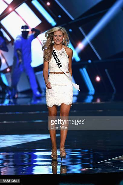 Miss Arkansas USA 2016 Abby Floyd is introduced during the 2016 Miss USA pageant at TMobile Arena on June 5 2016 in Las Vegas Nevada