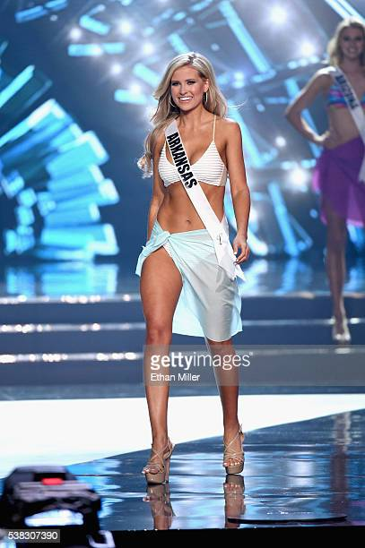 Miss Arkansas USA 2016 Abby Floyd is named a top 10 finalist after the swimsuit competition during the 2016 Miss USA pageant at TMobile Arena on June...