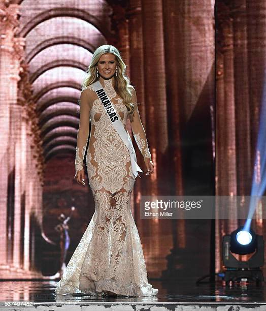 Miss Arkansas USA Abby Floyd competes in the evening gown competition during the 2016 Miss USA pageant preliminary competition at TMobile Arena on...