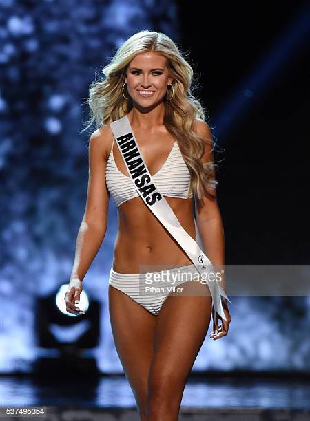 Miss Arkansas USA Abby Floyd competes in the swimsuit competition during the 2016 Miss USA pageant preliminary competition at TMobile Arena on June 1...