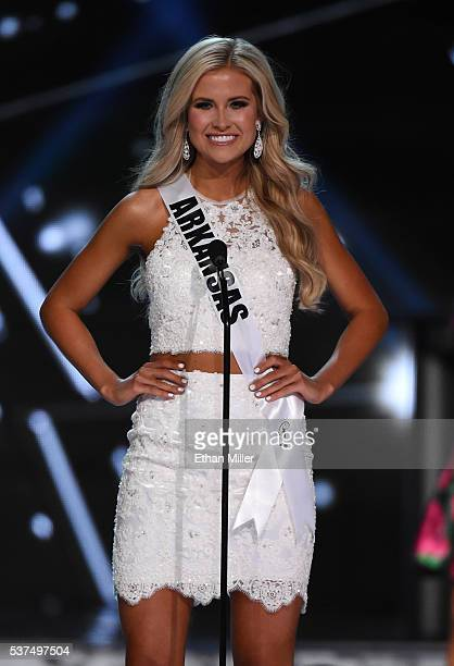 Miss Arkansas USA Abby Floyd is introduced during the 2016 Miss USA pageant preliminary competition at TMobile Arena on June 1 2016 in Las Vegas...