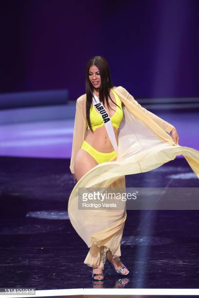 Miss Aruba Helen Hernandez appears onstage at the Miss Universe 2021 Preliminary Competition at Seminole Hard Rock Hotel & Casino on May 14, 2021 in...
