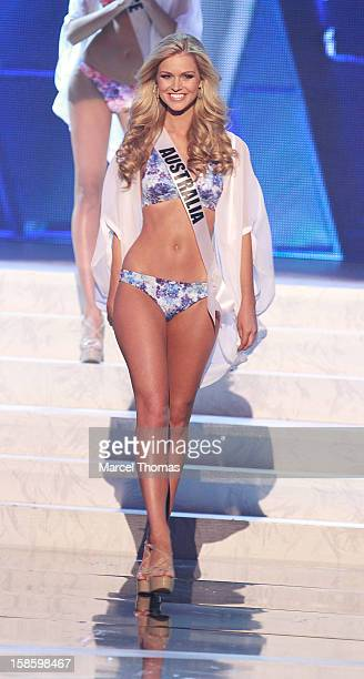Miss Australia 2012 Renae Ayris competes in the swimsuit competition during the 2012 Miss Universe Pageant at Planet Hollywood Resort Casino on...