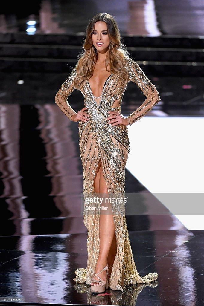 Miss Australia 2015, Monika Radulovic, competes in the evening gown ...