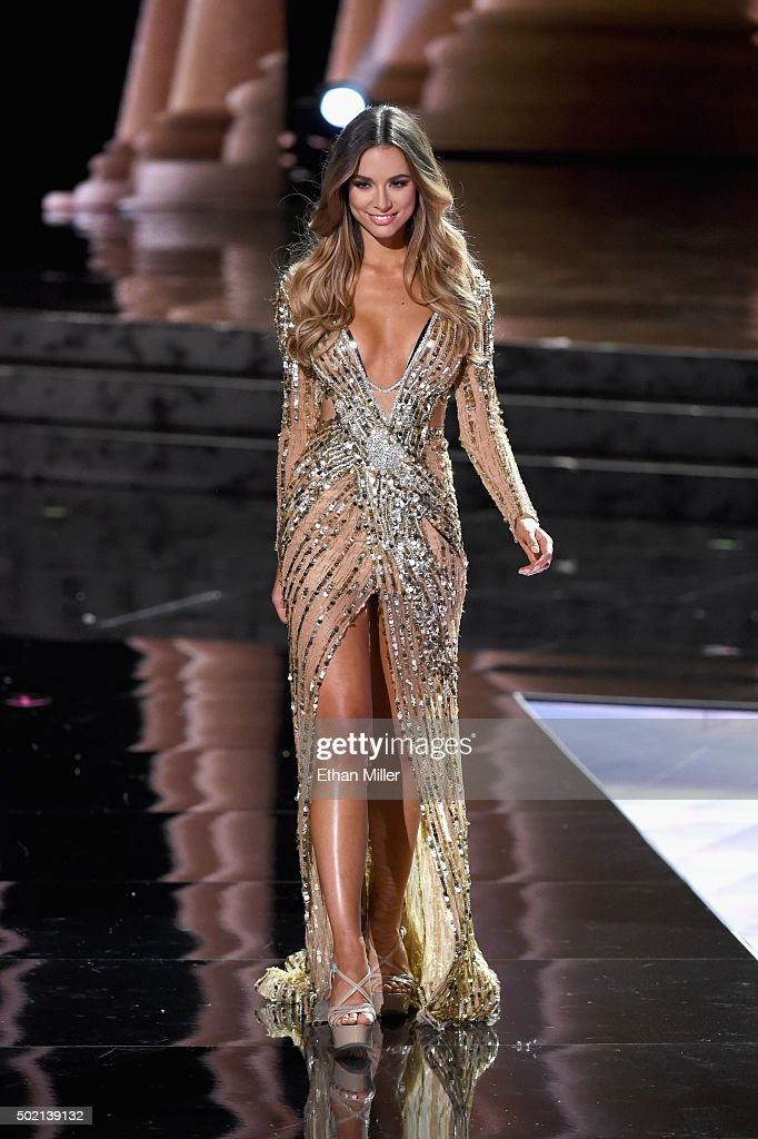 Miss Australia 2015, Monika Radulovic, competes in the evening gown ...