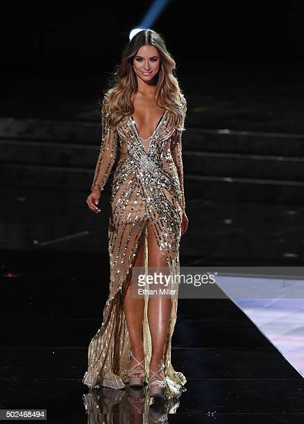Miss Australia 2015 Monika Radulovic competes in the evening gown competition during the 2015 Miss Universe Pageant at The Axis at Planet Hollywood...