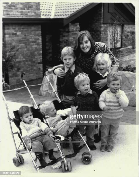 Miss Australia Entrant Alexandra Hamilton pictured with six of her nephews and neices who live next door They are In Pram left William Locke 1 old In...