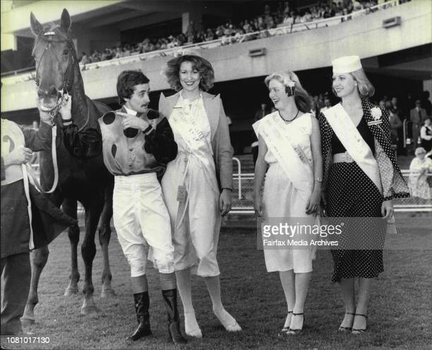 Miss Australia Entrants at Randwick Races Jockey Tony Maney introduces imposing winner of the 7th race rider by Mal Johnston to Dianne Curtis...