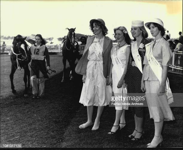 Miss Australia Entrants at Randwick Races Lt to Rt Dianne Curtis Newcastle Hunter Valley Deidre Heaky Southern Subs Vicki Halliday Southern Districts...