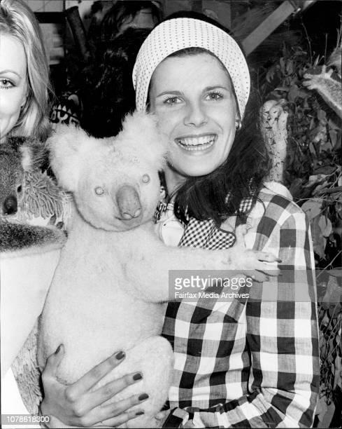 Miss Australia entrants visit Lone Pine Koala Sanctuary in BrisbaneMiss New South Wales Sue Elelman of Mona Vale holds a koala October 30 1972