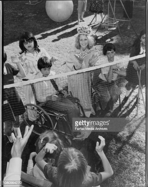 Miss Australia Gloria Krope with children from the spastic centre at MossmanMiss Australia Gloria Krope pictured with one of the pupils at the...