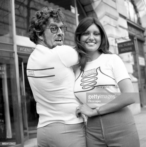 Miss Australia Karen Pini and her compatriot Rolf Harris outside Australia House in London's Strand where they handed over a Tshirt designed by Rolf...