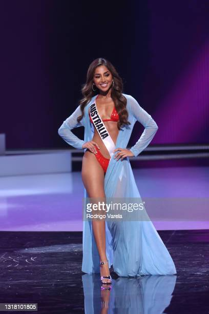 Miss Australia Maria Thattil appears onstage at the Miss Universe 2021 Preliminary Competition at Seminole Hard Rock Hotel & Casino on May 14, 2021...