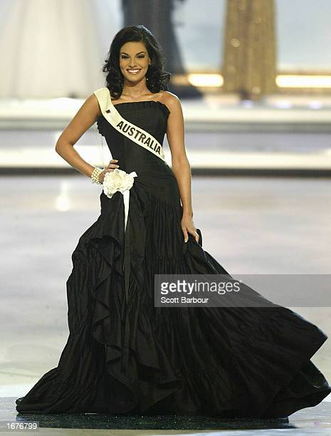Miss Australia Nicole Gazal stands as she is introduced to the audience at the Miss World 2002 competition December 7 2002 in London England The Miss...