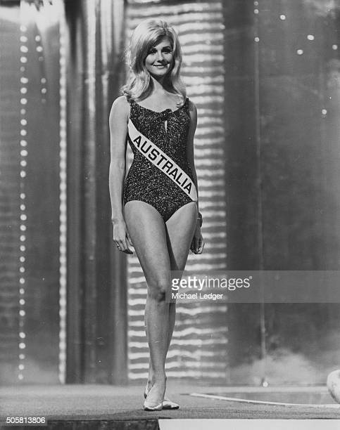 'Miss Australia' Penelope Plummer wearing a swimsuit as she walks in front of the judges during the 'Miss World' contest in London November 14th 1968