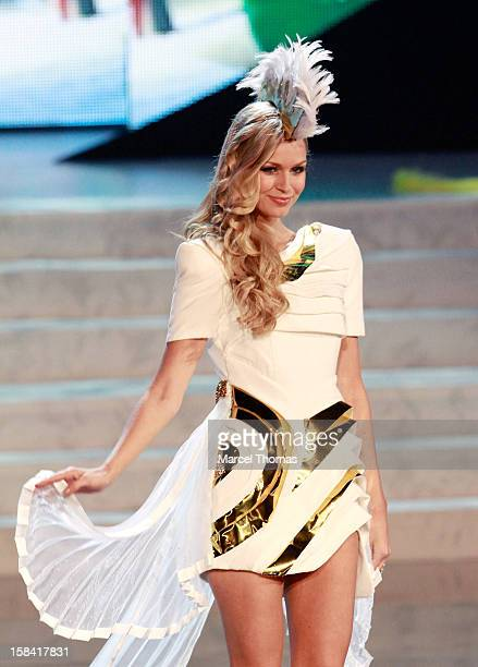 Miss Australia Renae Aryis displays her national costume at the 2012 Miss Universe National Costume event at Planet Hollywood Casino Resort on...
