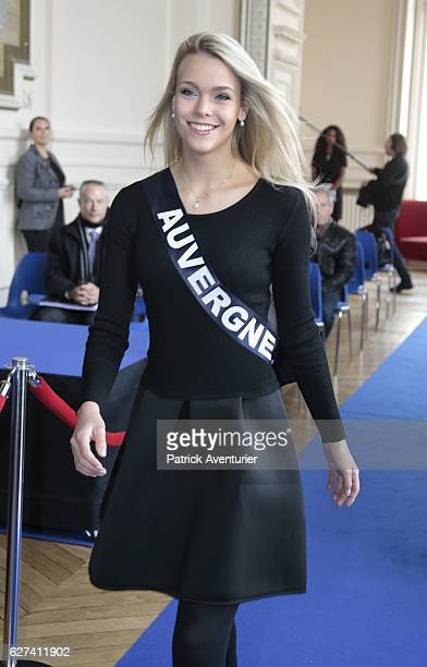 Miss Auvergne Oceane Faure parades during the official presentation of Miss France contestants in Montpellier southern France on December 3 ahead of...