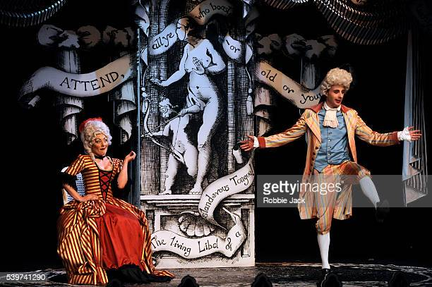 Miss Behave as Lady Sneerwell and Paul Foot as Crabtree in the Comedians Theatre Company's production of RB Sheridans play The School For Scandal...