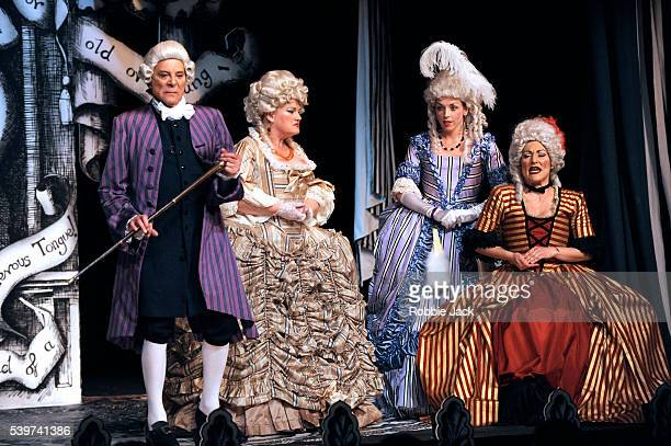Miss Behave as Lady Sneerwell Bridgit Christie as Lady Teazle Lionel Blair as Sir Peter Teazle and Ella Kenion as Mrs Candour in the Comedians...