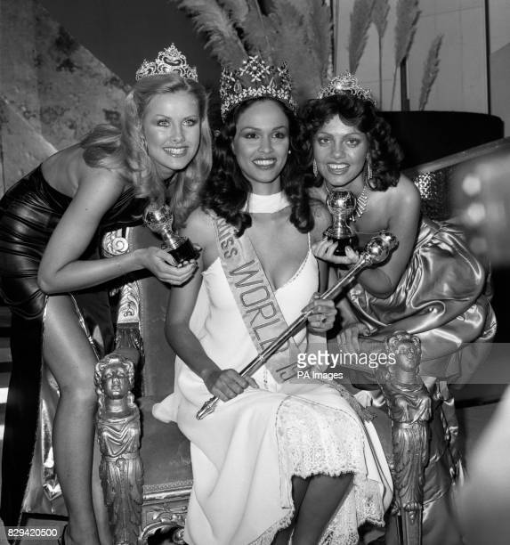 Miss Bermuda Gina Swainson 21 after she was crowned Miss World 1979 at London's Royal Albert Hall flanked by second placed Miss UK Carolyn Seaward 18...