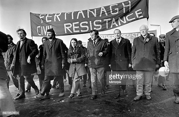 Miss Bernadette Devlin marches with Paddy Kennedy MP who is on the wanted list in Northern Ireland February 1972 721640
