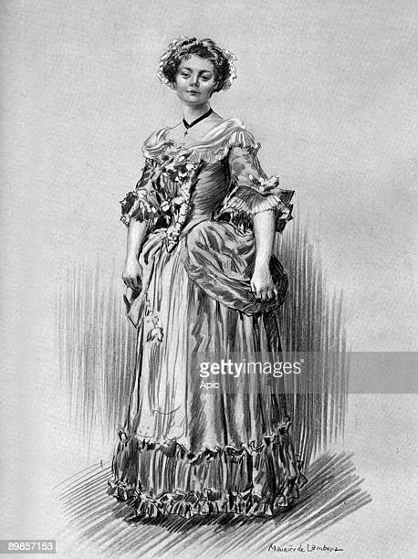 Miss Bertile Legrand in the role of Lise in the play L boarding Cytherea Theater des Bouffes Parisiens drawing Maurice Lambert extracted log Theater...