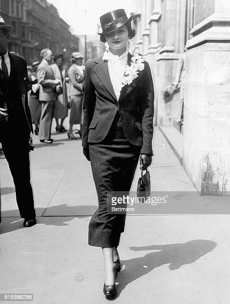 Miss Betty Clarke Seeley is seen as she strolled on Fifth Avenue on Easter morning wearing her chic Easter bonnet very smart and the very item to...