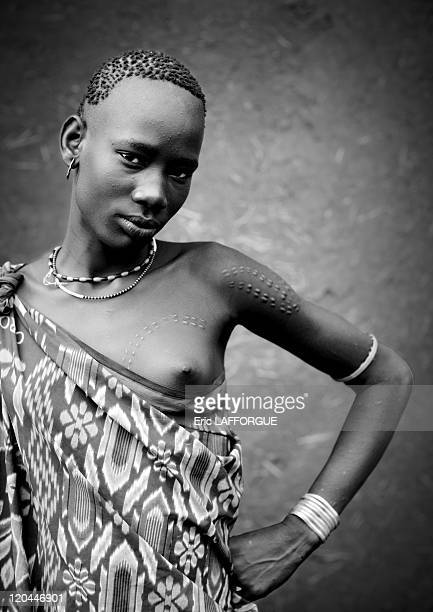 Miss Bichai from Bodi tribe woman in Ethiopia on October 25 2008 The Me'en or Bodi people live around Omo River in south Ethiopia Originally they...